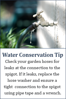 Water conservation tip: Check your garden hose for leaks at the connection to the spigot. If it leaks, replace the hose washer and insure a tight connection using pipe tape and a wrench.